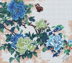 Delicate Oriental Flowers - Cross Stitch Kits by RTO - M229