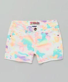 White Tie-Dye Shorts