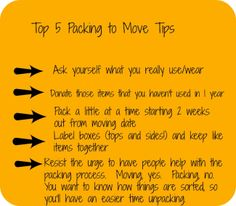 Top 5 Packing to Move Tips {from Fit • Full • Fun Blog}Re-pinned by www.sodacitymovers.com