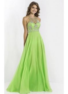 Halter Chiffon and Beading Long Green Prom Dress