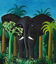 """769/169 - Hans Scherfig: """"Elefant"""". Signed Scherfig 1954. Tempera on masonite. 45 x 40,5 cm."""