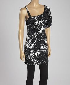 Another great find on #zulily! Black & White Abstract Asymmetrical Dress #zulilyfinds
