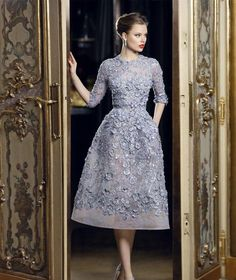 Summer Evening Dresses 2016 Elie Saab Beautiful Applique Lace A Line Formal Evening Dresses 3/4 Long Sleeve Tea Length Sexy Party Prom Dress Gowns Exquisite Chic Silver Evening Dresses From Bridefashion, $114.39| Dhgate.Com