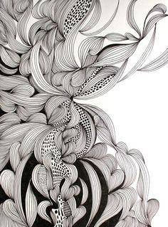 ARTFINDER: Embrace by Helen Wells - An intricate, intuitive and unique hand drawn pen and ink drawing on Fabriano art paper. It depicts a visually rich, illusionary organic landscape which cele...