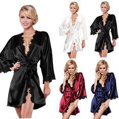 Las mujeres de Lujo de Noche Vestido de ropa de Dormir de Encaje Bata