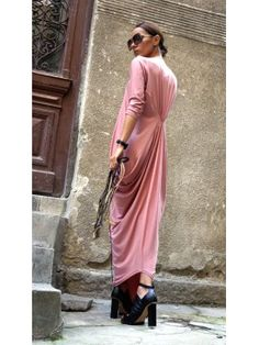 Asymmetric Draped Long Dress A03264 #Aakasha #longsleeves #dreaped #powderpink #stylish #party #maxidress #gorgeous