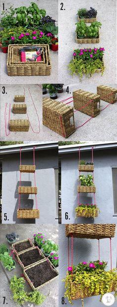 Jardín colgante usando cestas