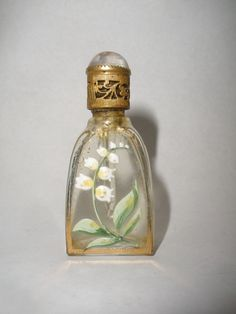 VINTAGE ANTIQUE MINIATURE 1920`S CZECH LILY OF THE VALLEY ENAMEL PAINTED PERFUME SCENT BOTTLE.  Height 2-1/8 inches.