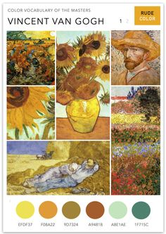 This new series on RudeColor is an attempt to understand the color vocabulary of Masters such as Van Gogh, Picasso, Matisse - artists who have changed our perception of color and form. Van Gogh's use House Color Palettes, Van Gogh Art, Van Gogh Paintings, Colorful Paintings, Stickers, Color Schemes, Color Combos, Mood Boards, Color Pallets