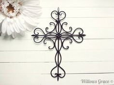 Hey, I found this really awesome Etsy listing at https://www.etsy.com/listing/152938344/black-ornate-metal-cross-wall-art-black