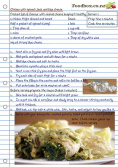Chicken with spinach, leek and blue cheese - Foodbox Nutritious Meals, Healthy Foods, Healthy Recipes, Delicious Restaurant, Spinach Stuffed Chicken, Blue Cheese, Food Illustrations, Recipe Cards, Scrapbook