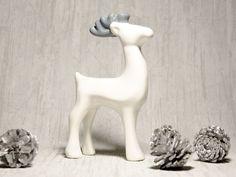 Renifer ceramiczny Biało-szary w Pracownia NieZapominajka na DaWanda.com