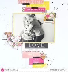 Design a layout around a single pattern paper: Designers Choice 12x12 Layout @raquelLbowman @pinkpaislee #pinkpaislee #ppcestlavie #scrapbooking #layout