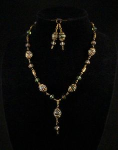 Antiquity style lampwork bead necklace and earrings - green and gold