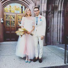 Agyness Deyn wearing Molly Goddard at her wedding in Brooklyn Heights