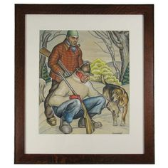 Hunters with Dog - Painting by Ernest Huntley Hart | From a unique collection of antique and modern paintings at http://www.1stdibs.com/furniture/folk-art/paintings/