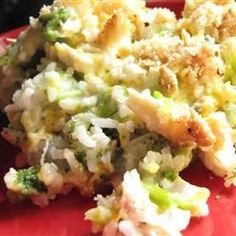 """Broccoli, Rice, Cheese, and Chicken Casserole I """"My family loves this! I like preparing one-dish meals because I can sneak the veggies in."""""""