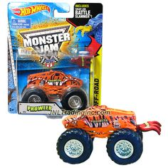 """Hot Wheels Year 2014 Monster Jam 1:64 Scale Die Cast Truck OFF-ROAD Series - PROWLER (W2398) with Snap-On Battle Slammer (Dimension : 3-1/2"""" L x 2-1/4"""" W x 2-1/2"""" H)"""