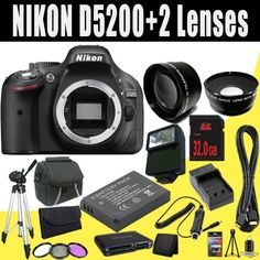 Digital Cameras - Pin it :-) Follow us, CLICK IMAGE TWICE for Pricing and Info . SEE A LARGER SELECTION of digital cameras at http://azgiftideas.com/product-category/digital-cameras/  - gift ideas -      Nikon D5200 24.1 MP CMOS Digital SLR Camera Body Only (Black) + EN-EL14 Replacement Lithium Ion Battery w/ External Rapid Charger + 16GB SDH...