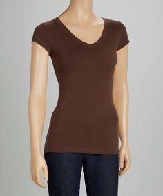 09.04.14 Brown Short-Sleeve V-Neck Top $5.99