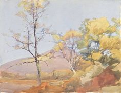 Archibald Knox (1864 - 1933, Scotland) A Spring Landscape, watercolour on paper.   http://www.magnoliabox.com/index.cfm? event=catalogue.artist&artistlD=34158&key=   Archibald-Knox&pageStart=1