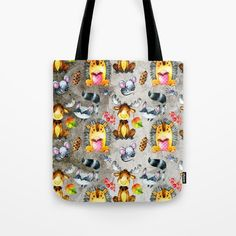 Woodland Animal Friends In Forest Pattern For Children Tote Bag
