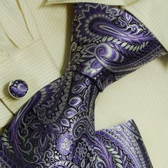 wedding gifts: Purple Paisleys designer mens ties wedding gifts indigo mens accessories silk necktie hanky set H6045