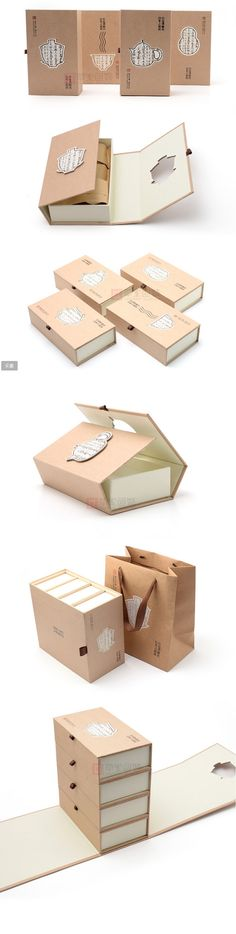 茶之初牛皮纸茶叶包装礼盒简约大气商务可装... Clever packaging. look how the cutout overlays the shapes when it's closed. PD