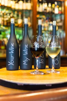 Guest Pinner, Danny Fancher: Enjoy a Chardonnay or Cabernet from our winery, Trinitas Cellars, on our lazy susan barrel top made inhouse with chalkboard painted wine bottles describing the wines!
