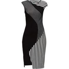 LATTORI Game of Lines Dress (4,820 MXN) ❤ liked on Polyvore featuring dresses, lattori, slimming dresses, stripe dress, kohl dresses, line dress and slimming black dress