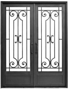 Puerta de hierro forjado — Del Hierro Design Wrought Iron Driveway Gates, Wrought Iron Doors, Window Glass Design, Iron Window Grill, Brick Wall Decor, Tor Design, Window Bars, Iron Gate Design, Window Grill Design