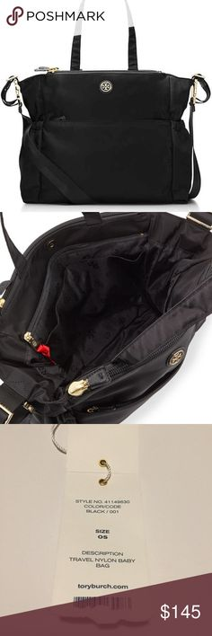 • Tory Burch • Tory Burch nylon travel diaper bag. Black color with gold hardware. Several exterior and interior pockets for storage and organization. Comes with matching changing pad. Has both a crossbody strap as well as shoulder straps. Some scratches and wear on the gold hardware as seen in the pictures. This bag is stylish for any mom and still has a lot of life left!                              ❌Trades  Authentic  ❌PayPal  Discounts on Bundles  ✅Offers Welcome  Yes to Questions Tory…