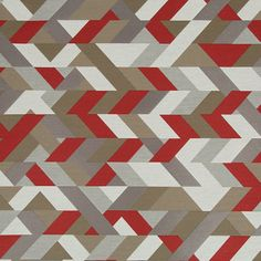 red grey geometric upholstery fabric - modern red taupe ottoman