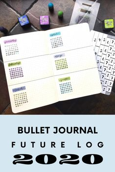 Join us in getting our 2020 bullet journal all set up and ready for success. Let's start off with the Future Log, which is an extended view of the year where you can write down future important. Bullet Journal Gifts, Bullet Journal Christmas, Bullet Journal Stencils, February Bullet Journal, Bullet Journal Tracker, Bullet Journal Spread, Bullet Journal Layout, Bullet Journal Inspiration, Journal Ideas