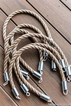 DIY Patio Curtain Tie Backs - Nautical - Rope, & metal couplings