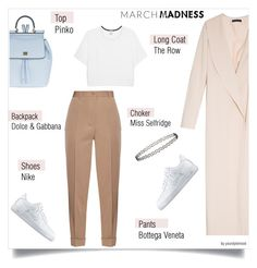 """""""March Madness - high tops"""" by yourstylemood ❤ liked on Polyvore featuring The Row, Bottega Veneta, NIKE, Dolce&Gabbana, Pinko, Miss Selfridge, outfitoftheday, hightops and polyvorecontest"""