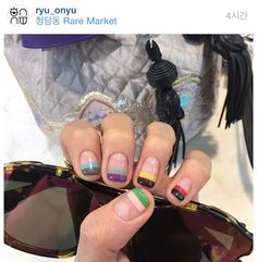 Colorful negative space, simple but bold Love Nails, How To Do Nails, Pretty Nails, My Nails, Beautiful Nail Designs, Cute Nail Designs, Negative Space Nails, Minimalist Nails, Finger
