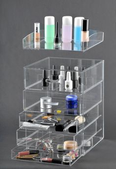 On Sale! Clear Acrylic Makeup Organizer Case 5 Drawers A5, Glamourebox by TheGlamoureBox on Etsy https://www.etsy.com/listing/228394651/on-sale-clear-acrylic-makeup-organizer
