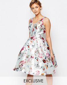 Chi Chi London Plunge Skater Dress In Floral Print