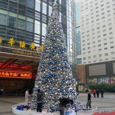 Online christmas trees with balls decorated