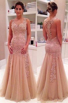 Princess Prom Dress, Long Prom Dresses, Trumpet Evening Dresses, Tulle Party Dresses, Pink Formal Dresses