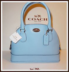 NWT-Coach-Mini-Domed-Cora-Satchel-Crossgrain-Leather-Hand-Bag-PERIWINKLE-BLUE
