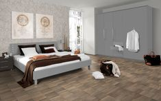 This beautiful grey & white laminate floor by to brand, Egger, is great value and very hard wearing. It's in stock with home delivery or click&collect. White Laminate Flooring, Wood Laminate, Bedroom Flooring, Open Plan Living, Grey Stone, Commercial Design, Basement Remodeling, Furniture, Home Decor