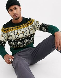 Buy Pull&Bear Join Life penguin Christmas jumper at ASOS. Get the latest trends with ASOS now. Ugly Hanukkah Sweater, Cute Christmas Sweater, Ugly Holiday Sweater, Ugly Sweater Party, Christmas Jumpers, Warm Winter Hats, Cotton Jumper, Mens Jumpers, Fashion Seasons