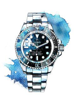 Colorful Drawings, Art Drawings, Rolex, Watch Drawing, Clock Painting, Watercolor Paintings For Beginners, Industrial Design Sketch, Sketch Design, Pin Up Art