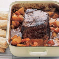 Perfect for pot roast recipes, inexpensive chuck is one of the most flavorful cuts of beef. Simmering it slowly and gently in the oven results in a wonderfully tender pot roast. Vegetables like onions and potatoes give the pot roast recipe even more comforting flavors.