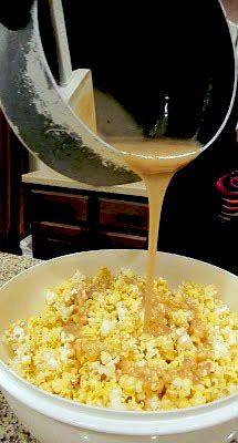 Yummy soft caramel popcorn 1 cup brown sugar, 1 stick of butter, 1 cup Karo syrup, 1 can of sweetened condensed milk. Melt all and pour over popcorn. Popcorn Recipes, Snack Recipes, Sweet Recipes, Dessert Recipes, Cooking Recipes, Popcorn Snacks, Gourmet Popcorn, Milk Recipes, Healthy Recipes