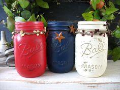 Red White Blue Mason Jar Photo