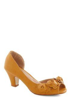 Go Floret Heel in Goldenrod, #ModCloth