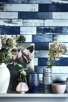 Super smart contemporary wallpaper design featuring an all over pattern of distressed wooden planks.
